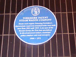 Photo of Yorkshire Patent Steam Wagon Company blue plaque