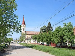 Road of Zădăreni with the Greek Catholic church, erected in 1777[1]