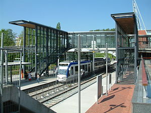 Centrum West RandstadRail station - The refurbished station. Platform 1 for Den Haag, Platform 2 for Zoetermeer (towards Stadhuis), Platform 3 for Zoetermeer (towards Dorp).