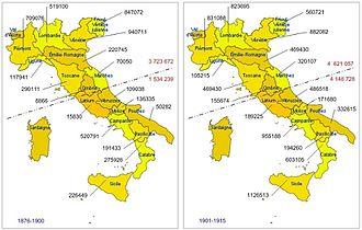 Italian diaspora - Image: Émigration italienne par régions 1876 1915