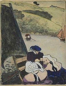 Émile Bernard Bretons dans une barque (Bretons in a Ferryboat) print 1889.jpg