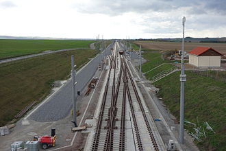 Erfurt–Leipzig/Halle high-speed railway - Großbrembach overtaking loop with slab track and ballasted track (under construction in October 2013)