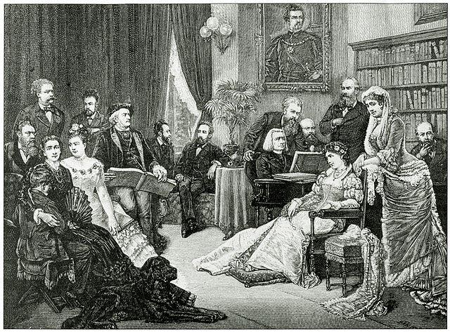 Лист музицирует в доме Вагнера, где также присутствовал дирижёр Герман Леви