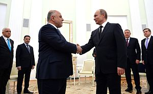 Haider al-Abadi - At meeting with Russian president Vladimir Putin.