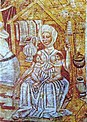 Ева за кормлением и прядением. Деталь фрески в Свято-Троицкой церкви в Храстовле.jpg