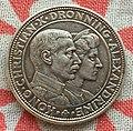 Монета Дании 2 кроны, Серебряная годовщина свадьбы Кристиана Х и Александрины, серебро, 1923.jpg