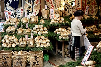 Bamboo shoot - Different types of bamboo shoots in a shop in Japan