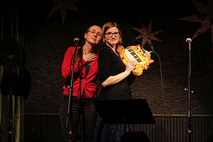 The Doubleclicks - The Doubleclicks in January 2014 (Angela holding the cat keyboard)