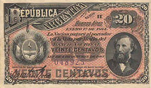 Argentine peso moneda nacional - 20 Centavos 1884