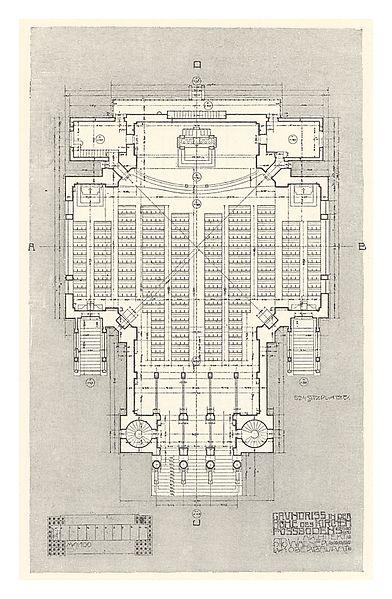 File:02 Otto Wagner-Kirche- Baumgartnerhöhe - Wagner Band 5. 6. und 7. Heft -Erdgeschoß.jpg