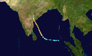 1977 Andhra Pradesh cyclone - Image: 06B 1977 track