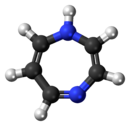 Ball-and-stick model of the 1,4-diazepine molecule