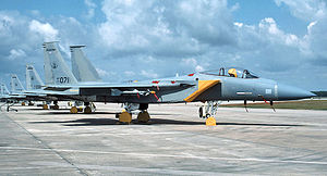 122d Fighter Squadron - Line of F-15A Eagles of the 122nd Tactical Fighter Squadron about 1990