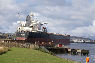 Capesize - Capesize bulk carrier Cape Elise of 174,124 DWT at Inchgreen quay, Greenock, Scotland for repairs in March 2014 after being struck by a massive wave. At 289 metres long, it was the largest ship to dock at Greenock in 20 years.