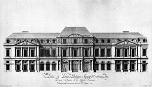 Pierre-Louis Moreau-Desproux - Image: 1790 Palais de Louis Philippe Joseph d'Orléans 1790 rue Saint Honoré facade by Moreau Musée Carnavalet 1988 p 158
