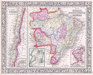 1864 Mitchell Map of Brazil, Bolivia and Chili - Geographicus - SouthAmericaSouth-mitchell-1864