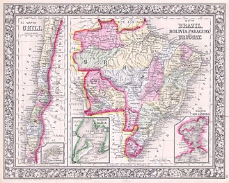 Paraguay - Political map of the region, 1864