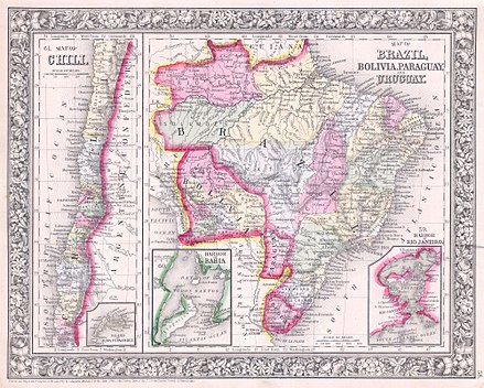 Political map of the region, 1864 1864 Mitchell Map of Brazil, Bolivia and Chili - Geographicus - SouthAmericaSouth-mitchell-1864.jpg