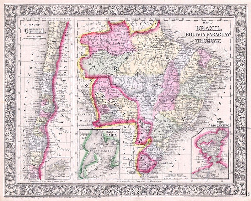 1864 Mitchell Map of Brazil, Bolivia and Chili - Geographicus - SouthAmericaSouth-mitchell-1864.jpg