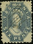 1866 Tasmania 6d perf10 plume Yv20aB SG64.jpg