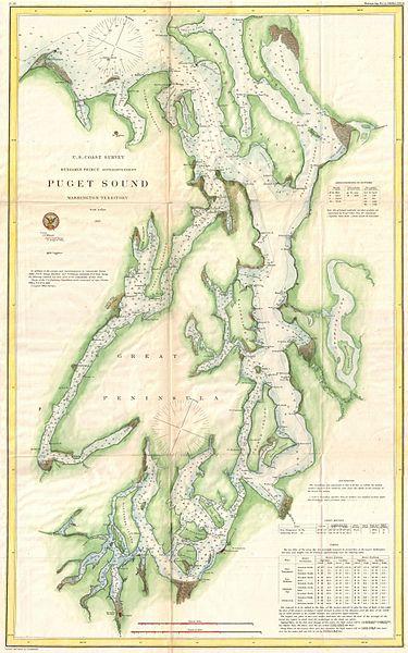 Un Organizational Chart: 1867 U.S. Coast Survey Chart or Map of Puget Sound ,Chart