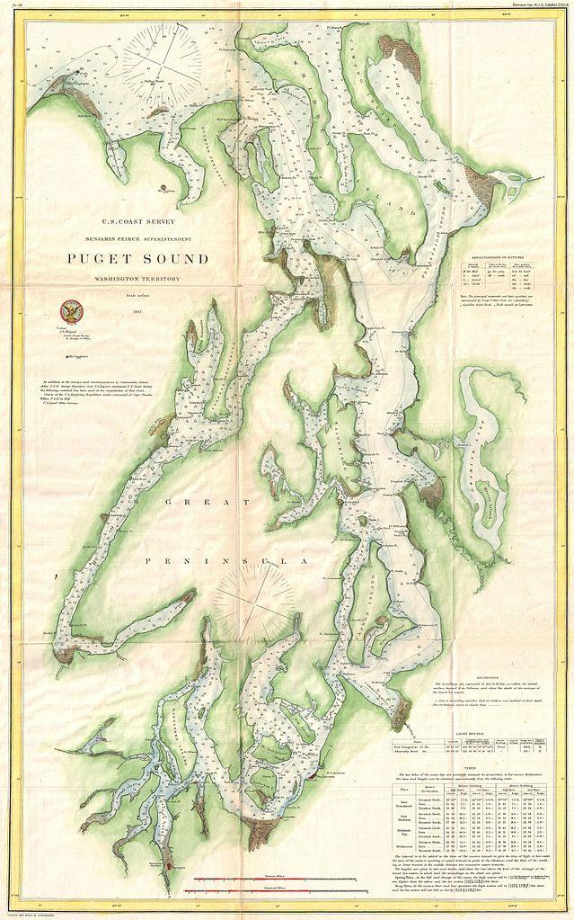 File1867 Us Coast Survey Chart Or Map Of Puget Sound Washington