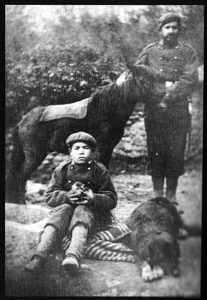 Juan Olazábal Ramery - 1872: a Carlist, a boy, a pottok and a dog