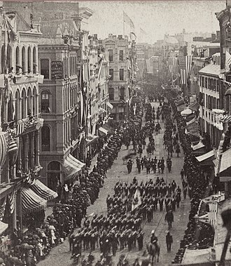 Franklin Street (Boston) - Image: 1876 parade Franklin St Boston June 17