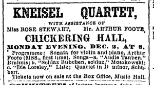Chickering Hall, Boston (1883) - Image: 1889 Kneisel Chickering Hall Boston Globe Dec 1