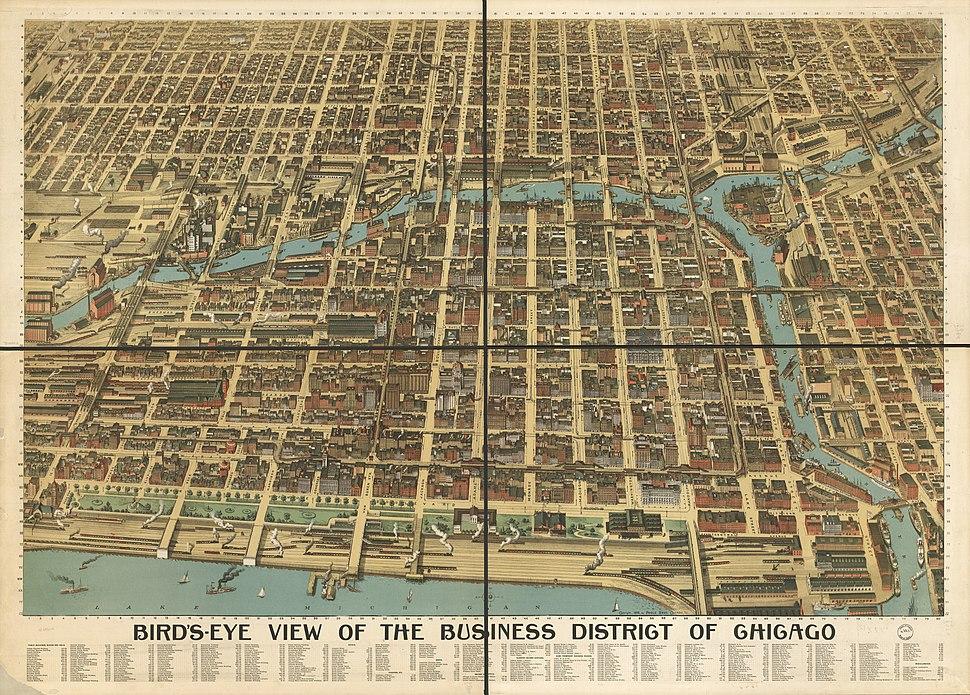 1898 Bird's Eye View of Chicago