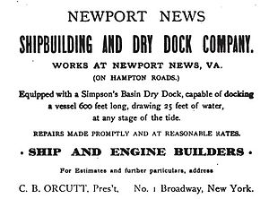 Newport News Shipbuilding - An 1899 advertisement for the Newport News Shipbuilding and Dry Dock Company