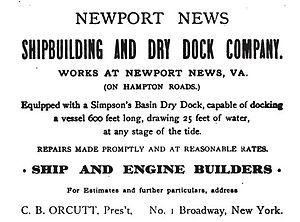 Newport News Shipbuilding - An 1899 advertisement for the Newport News Shipbuilding and Dry Dock Company