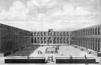 Caravanserai - Illustration of a caravanserai in Kashan, Iran by Jean Chardin in 1723