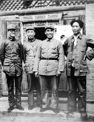 Zhu De - Zhu (second from right) photographed with Mao, Zhou Enlai (second from left) and Bo Gu (left).