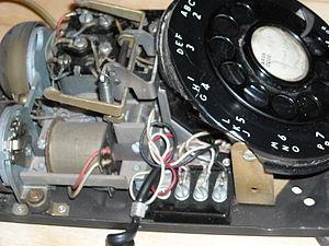 Model 500 telephone - Inside works of a 1951 model 500