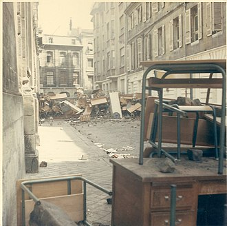 May 1968 events in France - Barricades in Bordeaux in May 1968.