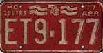 1977 Missouri license plate ET9-177.jpg
