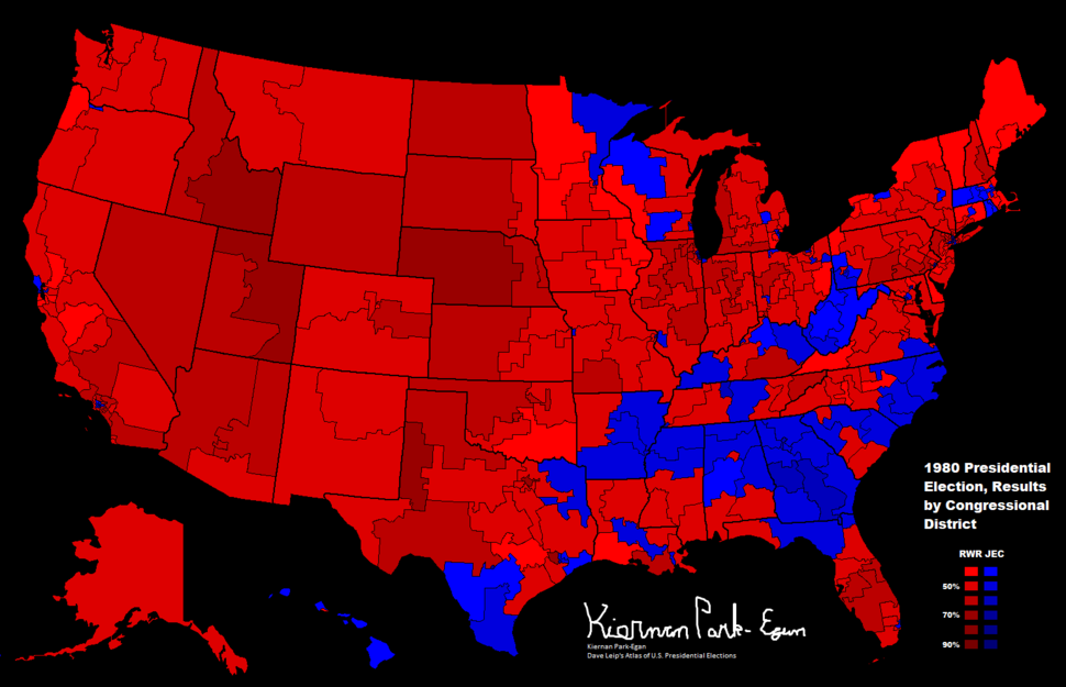 1980 Presidential Election, Results by Congressional District