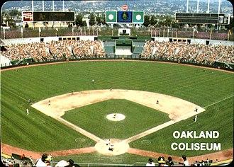1985 Major League Baseball season - The Oakland Athletics hosting a game at the Oakland–Alameda County Coliseum in 1985.