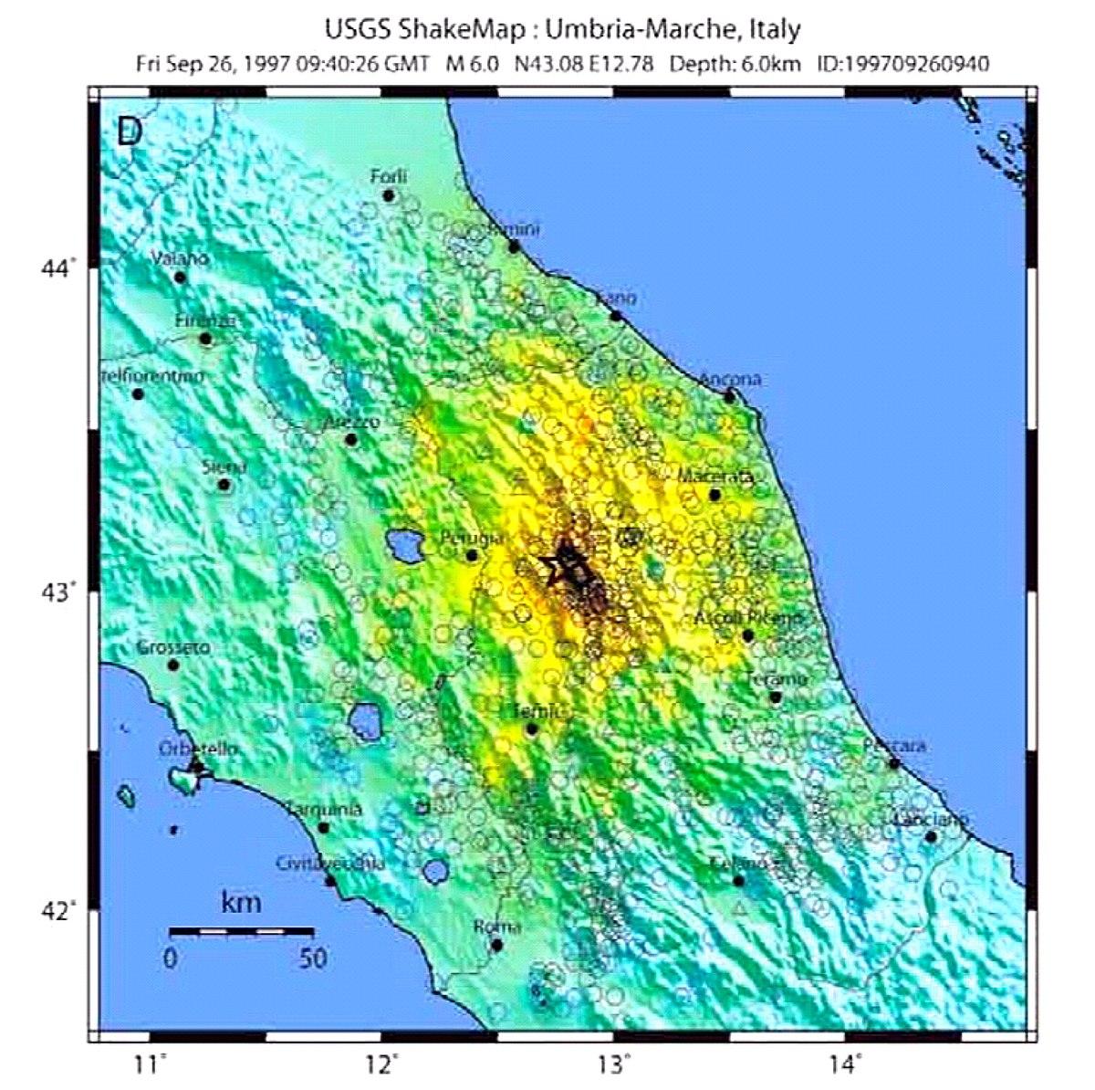 Umbria Marche Cartina.Terremoto Di Umbria E Marche Del 1997 Wikipedia