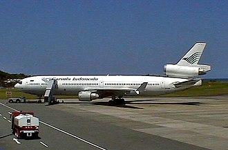 Garuda Indonesia - McDonnell Douglas MD-11 of Garuda at Sepinggan International Airport in 2001.
