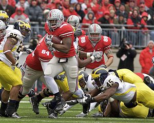 2006 Michigan vs. Ohio State football game - Chris Wells scored on a 52-yard touchdown run, giving the Buckeyes' their first lead of the game.