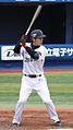 20110403 Shinji Niinuma, catcher of the Yokohama BayStars, at Yokohama Stadium.jpg