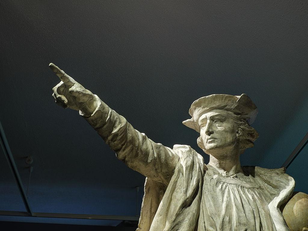 Christophe Colomb, sculpture en plâtre d'Auguste Bartholdi (XIXesiècle, musée d'histoire de Belfort).  (définition réelle 3645×2735)