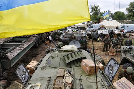 BTR-80 in Ukrainian service, 12 June 2014 2014-06-12. War in Donbass 20.JPG