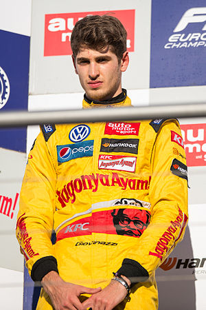 2015 Macau Grand Prix - Antonio Giovinazzi (pictured in 2014) finished the qualification race first on the road but was penalised twenty seconds for contact with Daniel Juncadella on the first lap.