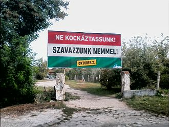 """2016 Hungarian migrant quota referendum - One of the government's billboards, advocating a """"no"""" vote"""
