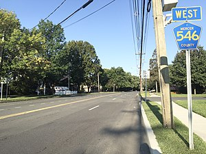 County Route 546 (New Jersey) - View west along CR 546 at its eastern terminus at US 1 in Lawrence Township