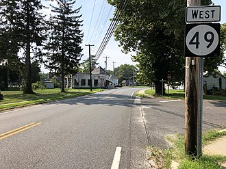 Shiloh, New Jersey - Route 49 westbound in Shiloh