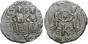 Orphanotrophos - Twenty-nummi coin showing Justin II and Sophia enthroned